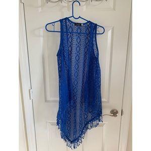 Royal blue bikini Coverup cardigan style (M)